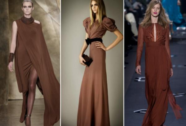 Модные платья на Новый год шоколадных оттенков