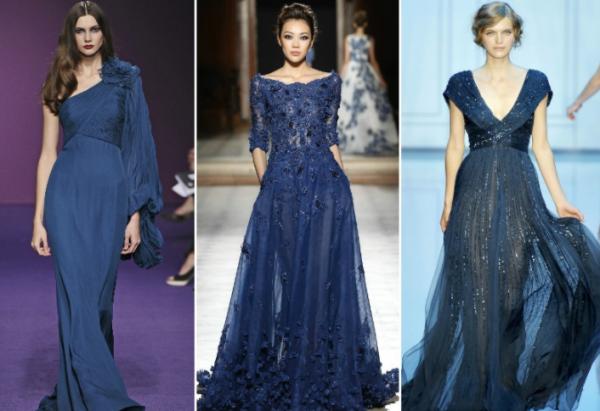 Вечерние платья синих оттенков