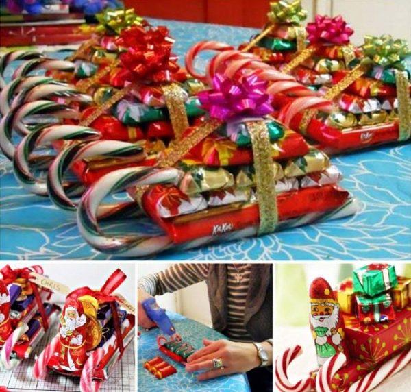 Саночки из конфет на Новый год 2018