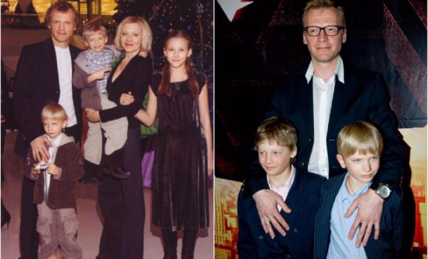 Алексей Серебряков с женой и детьми