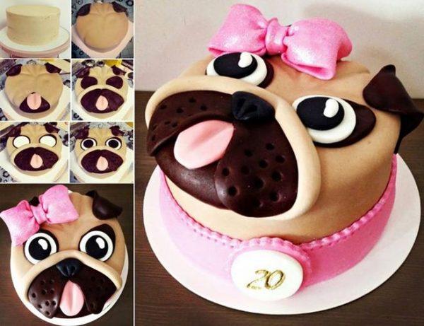 Торт в виде собачки украшенной мастикой
