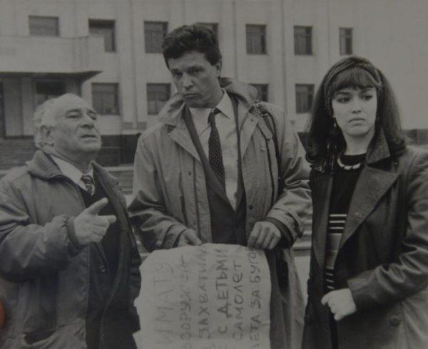 Георгий Натансон, Инвар Калныньш и Анна Самохина на съемках
