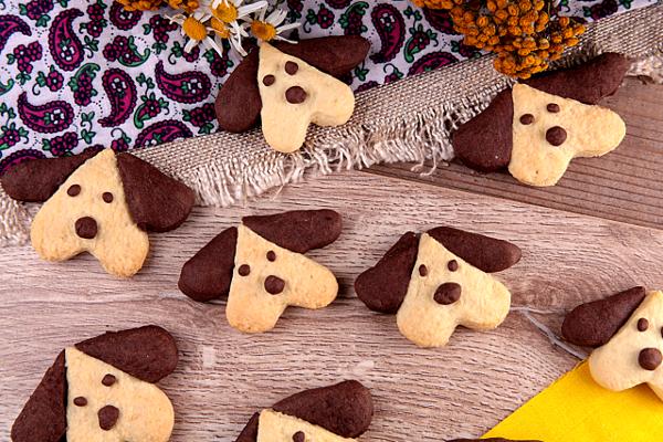 Печенье собачки на Новый год 2018
