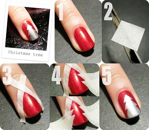 При помощи скотча новогодний маникюр на коротких ногтях в виде елочки сделать совсем не сложно