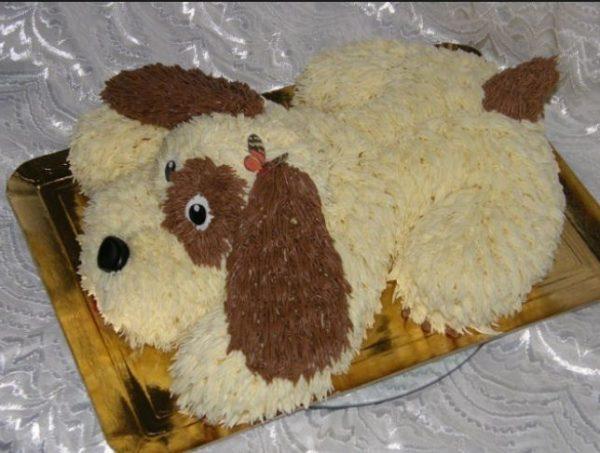 Торт в виде собачки на Новый год