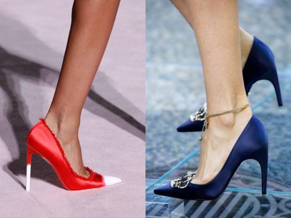 Модные атласные туфли