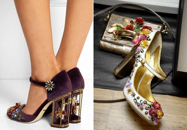 Женские туфли с декором из цветов