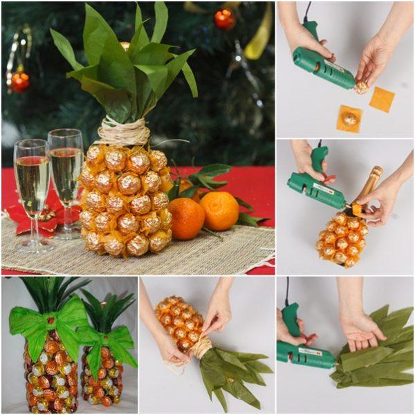 Схема создания ананаса из конфет