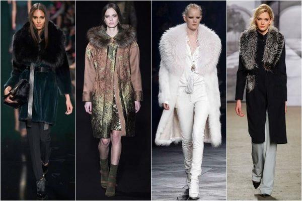 Модные пальто с меховой отделкой