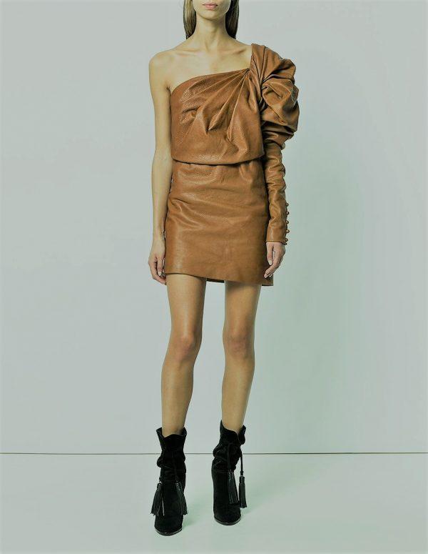 Новогоднее платье из кожи коричневого цвета
