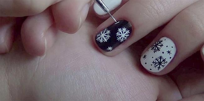 Новогодний маникюр на коротких ногтях: рисуем снежинку