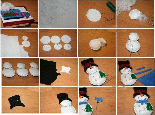 Пошаговое изготовление снеговиков