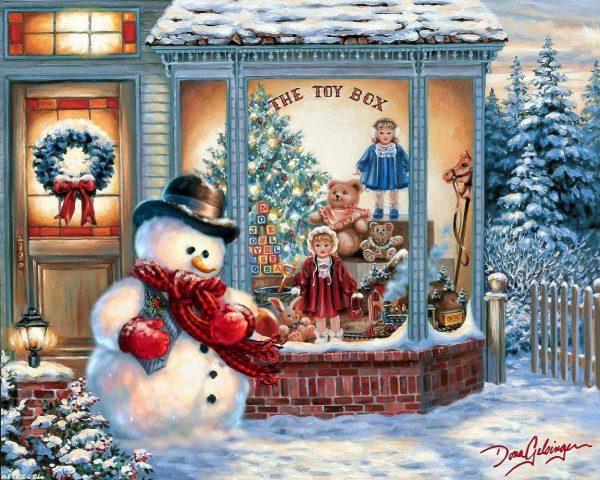 Снеговик у витрины