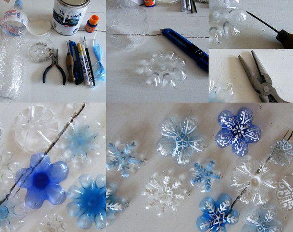 Поэтапное изготовление снежинок из пластика своими руками