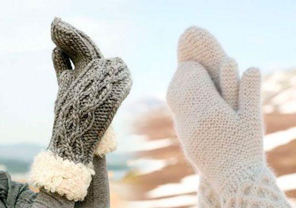 Варежки из кид-мохера получаются самыми теплыми
