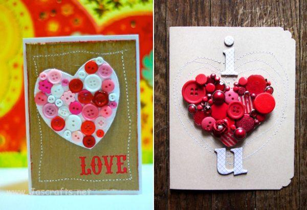 Валентинка-открытка с использованием пуговиц