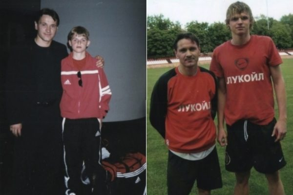 Известный футболист в юности и в молодости