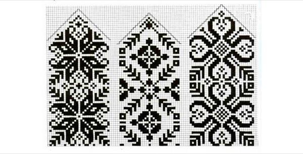 Схемы рисунков для вязания варежек