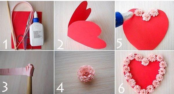 Сердце с цветами из бумаги