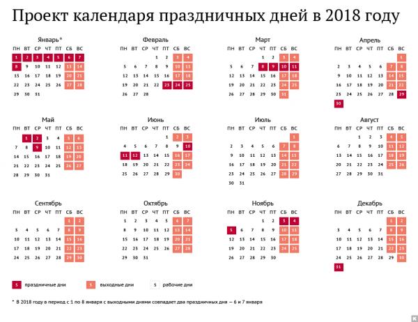 Производственный календарь на январь 2018 года с выходными днями и праздниками