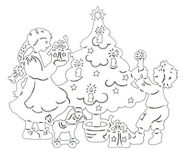 Рождественская вытынанка для школьной выставки