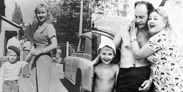 Актриса с мужем Евгением Ташковым и сыном Андреем