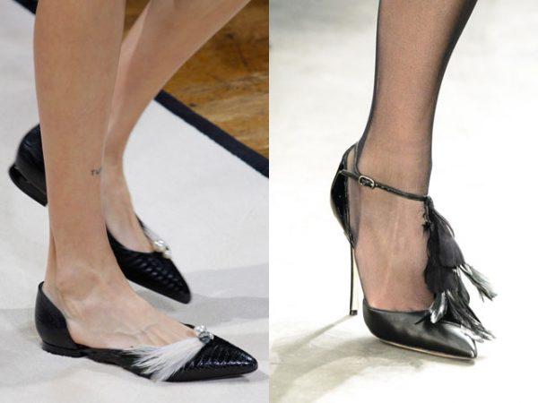 Обувь украшенная перьями
