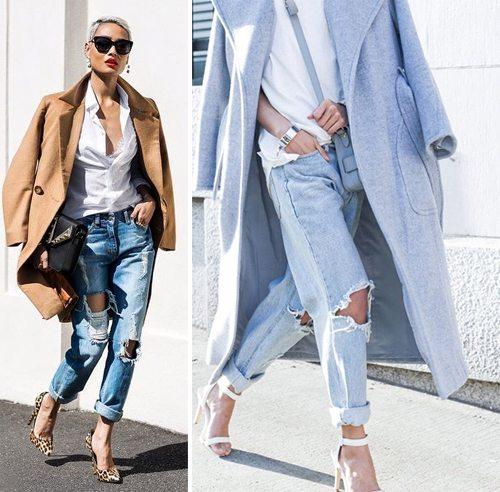 Модные джинсы с плащом