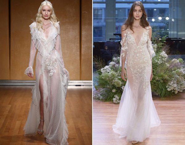 Модели платье с глубоким вырезом