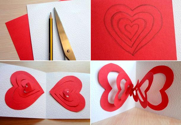 Валентинки вырезанные из цветной бумаги