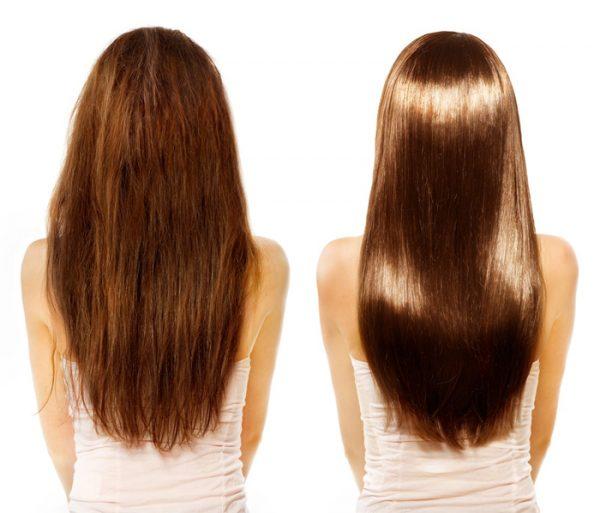 Волосы до и после использования кокосового масла