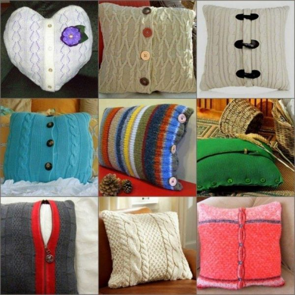 Наволочки на подушки из старых вещей