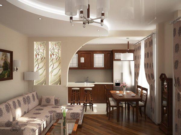 Кухня в светлых и коричневых тонах