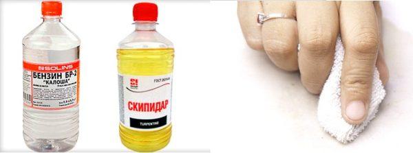 От застаревших жирных пятен можно избавится при помощи бензина или скипидара