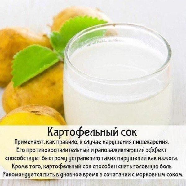 Картофельный сок при изжоге