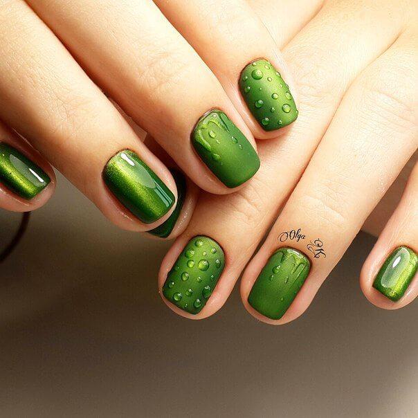 Нейл-арт зеленых оттенков