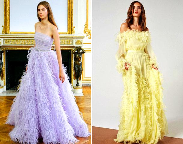 Модные вечерние платья украшенные перьями