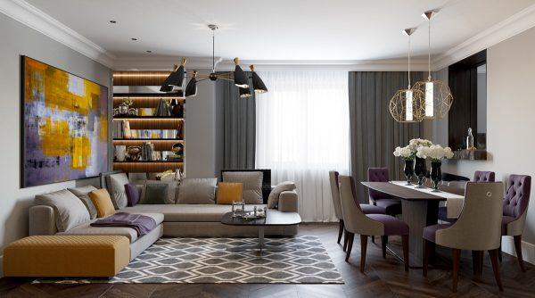 Бело-серая гостиная в стиле арт-деко