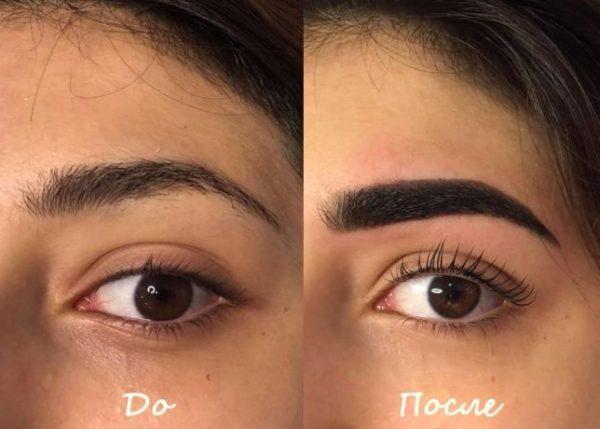 Ламинирование бровей: фото до и после