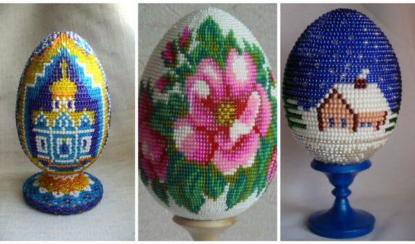 Пасхальные яйца с разными узорами