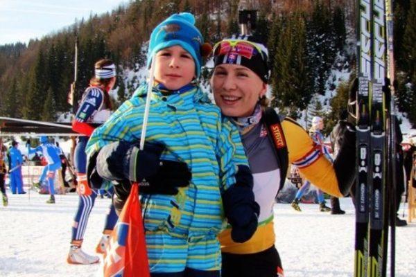Спортсменка со своим сыном