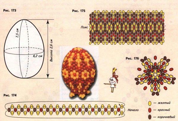 Пасхальные яйца в бисере схемы