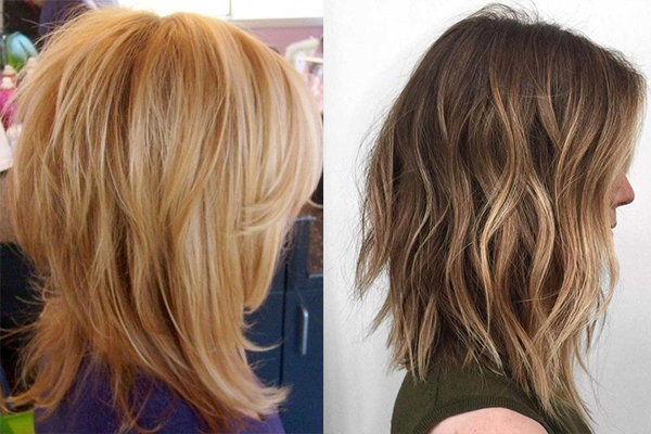Стрижки каскад на средние волосы вид сзади