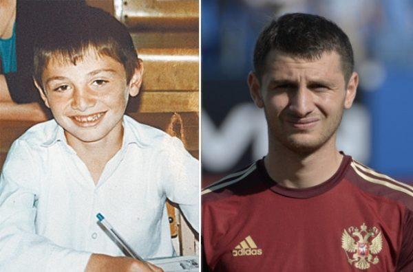 Алан Дзагоев в детстве и сейчас