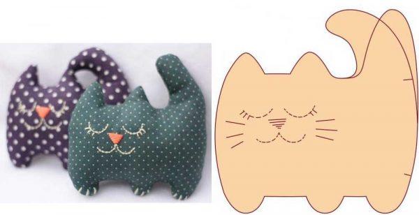 Декоративная подушка в виде кота с выкройкой