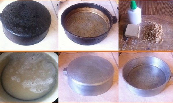 Очищение сковороды хозяйственным мылом