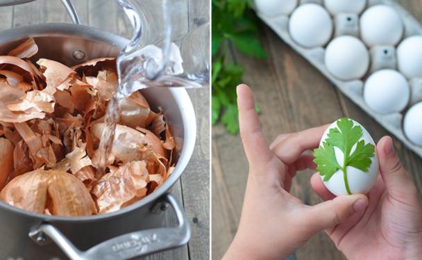 Как нанести рисунок на яйца при помощи листьев