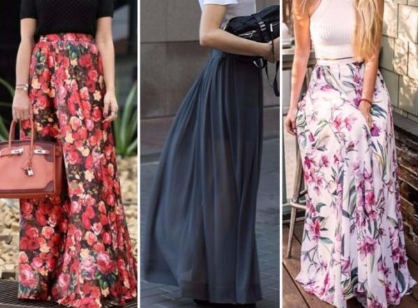 Длинные юбки ярких расцветок