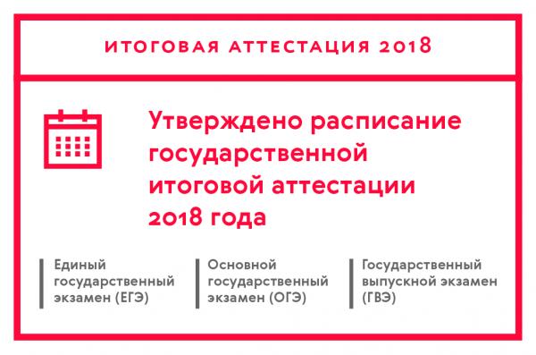 Утверждено расписание государственной итоговой аттестации 2018 года