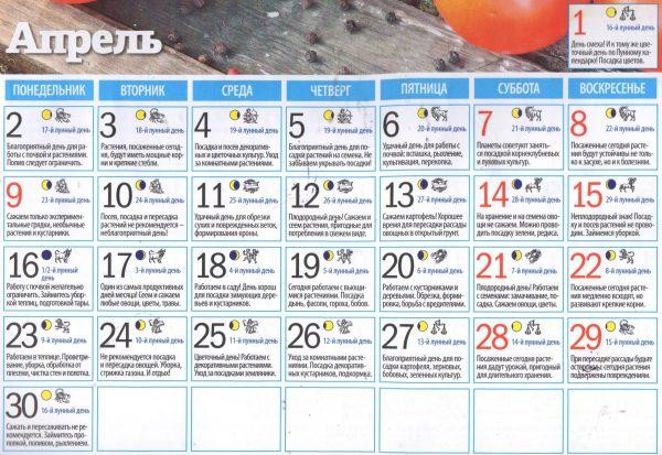 Лунный календарь посадок на апрель 2018